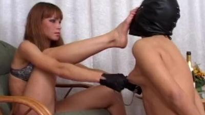 Femdom cock & ball crushing & nipples torturing masked slave