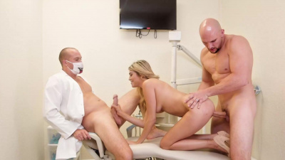 Stephanie West gets fucked from both sides by her man & the tooth doctor