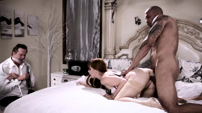 Penny Pax slobbers & fucks a latino dick in front of her cuckold husband