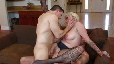 Tied up Geisha Monroe taking two dicks at the same time