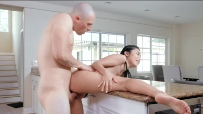 Asian maid gets fucked in her tight little pussy deep until she squirts on everything in the house