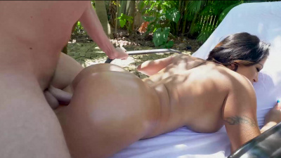Julianna Vega bounce her phat booty up & down on dick poolside