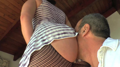 Fetish scene with dude's face buried between girls' butt cheeks