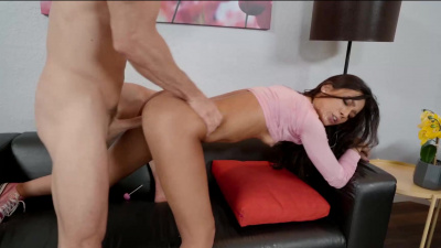 Tiny girl first time gets her mouth and pussy on a cock
