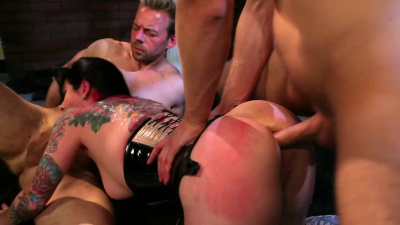 Submissive whore fucked in every hole by her masters
