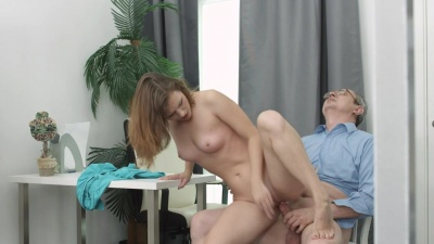 Sofy Torr tricked by her old teacher into sucking & getting her pussy fucked