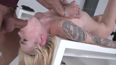 Gorgeous tattooed blonde Arteya finds sex more interesting then studying