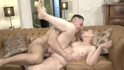 Romantic granny Nanney begs young guy for some sex
