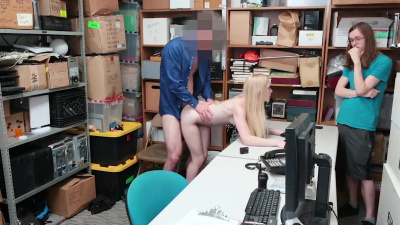 Skinny blonde shoplifter gets fucked in front of her friend by loss prevention officer