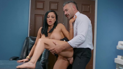Audrey Bitoni sucks and fucks Charles' juicy cock in order to buy her boss some much needed time