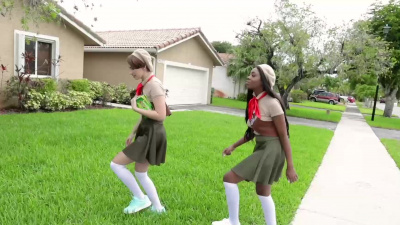 Ambitious girl scouts Alina Belle and Tori Montana distract rich neighbor to steal wad of cash