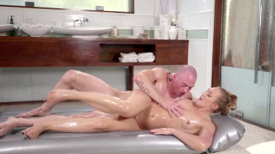 Blonde AJ Applegate with natural tits has passionate sex