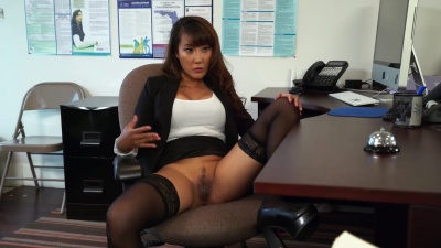 Asian Tiffany Rain gets hard fucked over her office desk by her employee