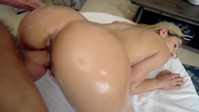 Abella Danger getting oiled up and fucked on the massage table