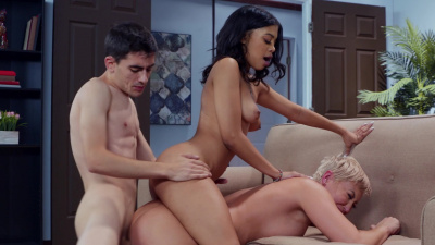 Two horny guys team up on beautiful Jeni Angel