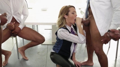 Stunning Jessica Drake interracial gangbang in the white room