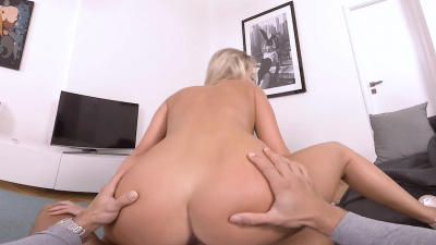 Beautiful blonde Victoria Pure bares dude's dick to give him a blowjob and prepare him for a crazy cowgirl ride