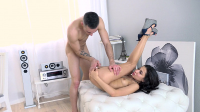 Smoking hot Polina Sweet spreads her tight ass open for a deep hard anal pound