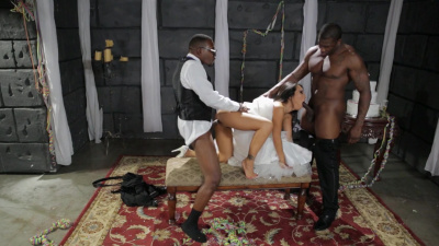 Exotic beauty Asa Akira takes two black cocks at the same time