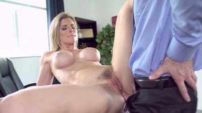 Cory Chase busts her employee watching anal porn at work, calls him into office for the real thing