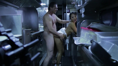 Asian whore Asa Akira getting fucked in the food truck