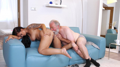 Grey-haired old man fucking young latina Jennifer Mendez