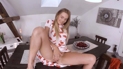 Timea Bella tastes her own delicious love juices after orgasm VR