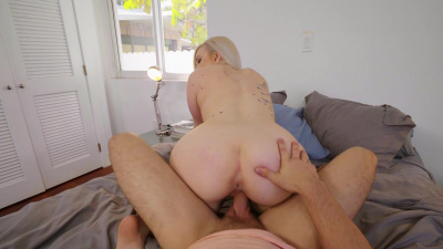 Busty blonde Emily Right fucks her roommate POV