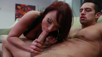 Busty beauty Nicki Hunter riding the young stud's dick like it's her job