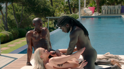 Angelika Grays sex vacation with two black studs