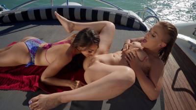 Sloan Harper and Sofie Reyez lick each other's pussies on the boat