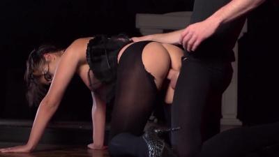 Busty ballerina Bijou rides a huge dick through her ripped pantyhose & takes jizz