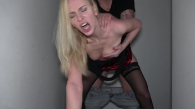 Russian blondie Afina Kisser deepthroats dick & fucks stranger in a stairwell